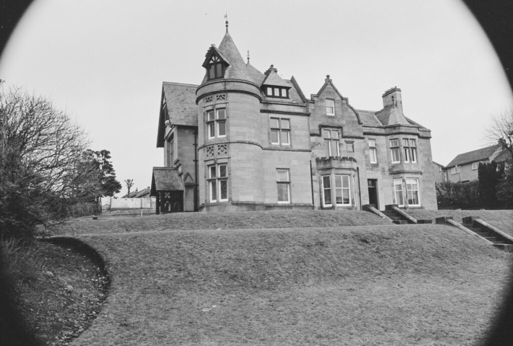 Black and white photograph of a large