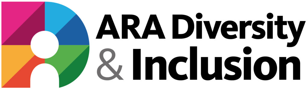 Diversity and Inclusion Allies logo - Multicoloured D with a person shaped white space at the bottom of the D