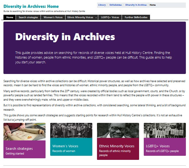Screenshot of the Diversity in Archives homepage of the Hull History Centre website
